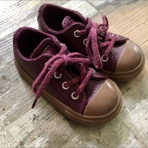 Purple leather converse sneakers toddler size 6